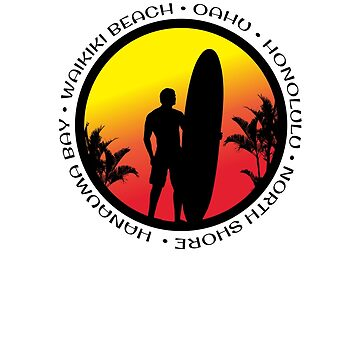 Oahu Surfing Cool Sunset Surfer Palm Tree by hlcaldwell