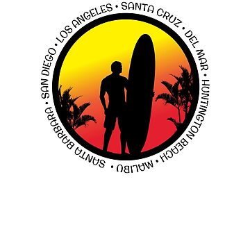California Surfing Cool Sunset Surfer Palm Tree by hlcaldwell