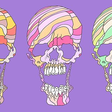 Candy Cane Skull Colurful by kikoeart