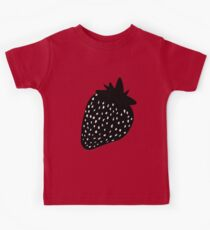 Black Strawberries Pattern Kids Clothes