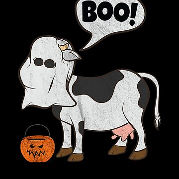 Funny Halloween Cow Ghost Costume Cute Boo Cow Jack o lantern Bucket by zot717