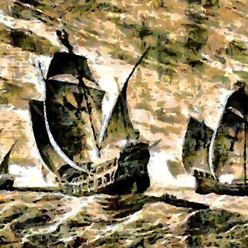Columbus' Ships - The Santa Maria, Nina and Pinta 1892 by ZipaC