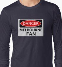 DANGER MELBOURNE FAN FAKE FUNNY SAFETY SIGN SIGNAGE Long Sleeve T-Shirt