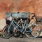 Two Bicycles against a wall by Anna Lemos