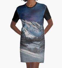 Vestido camiseta Bob Ross inspiró la pintura del paisaje nocturno