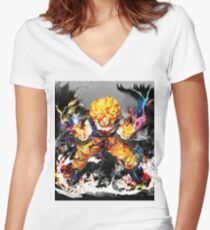 Goku abstract - Goku paintings - ultra instinct Women's Fitted V-Neck T-Shirt