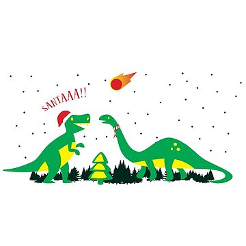 'Merry Extinction' Funny Christmas Dinosaur Gift by leyogi