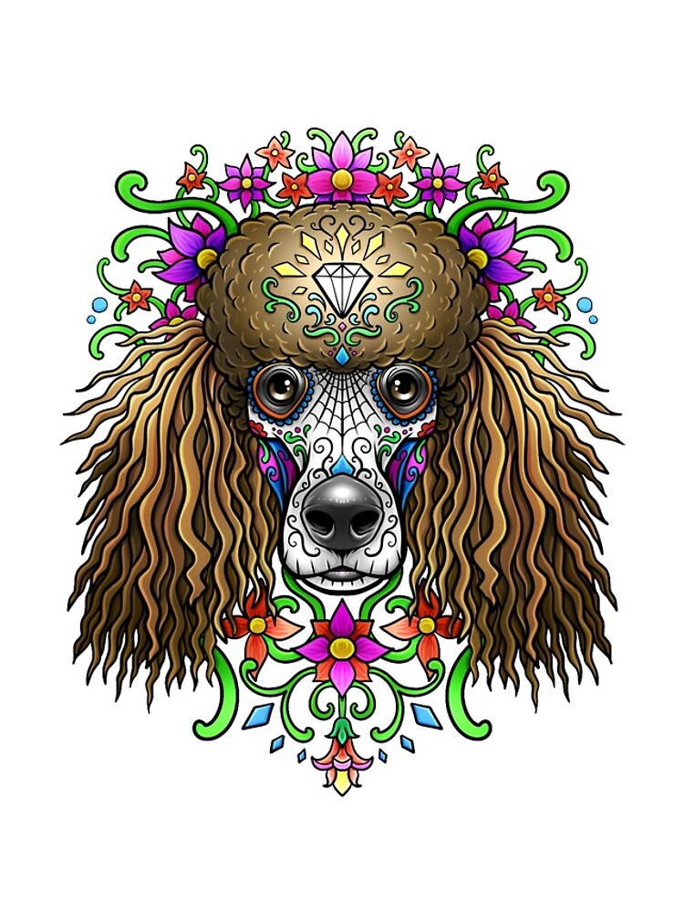 Poodle Day Of The Dead Dog Sugar Skull by Teeming