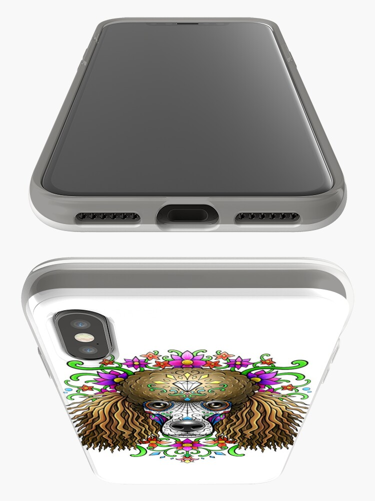 Alternate view of Poodle Day Of The Dead Dog Sugar Skull iPhone Case & Cover