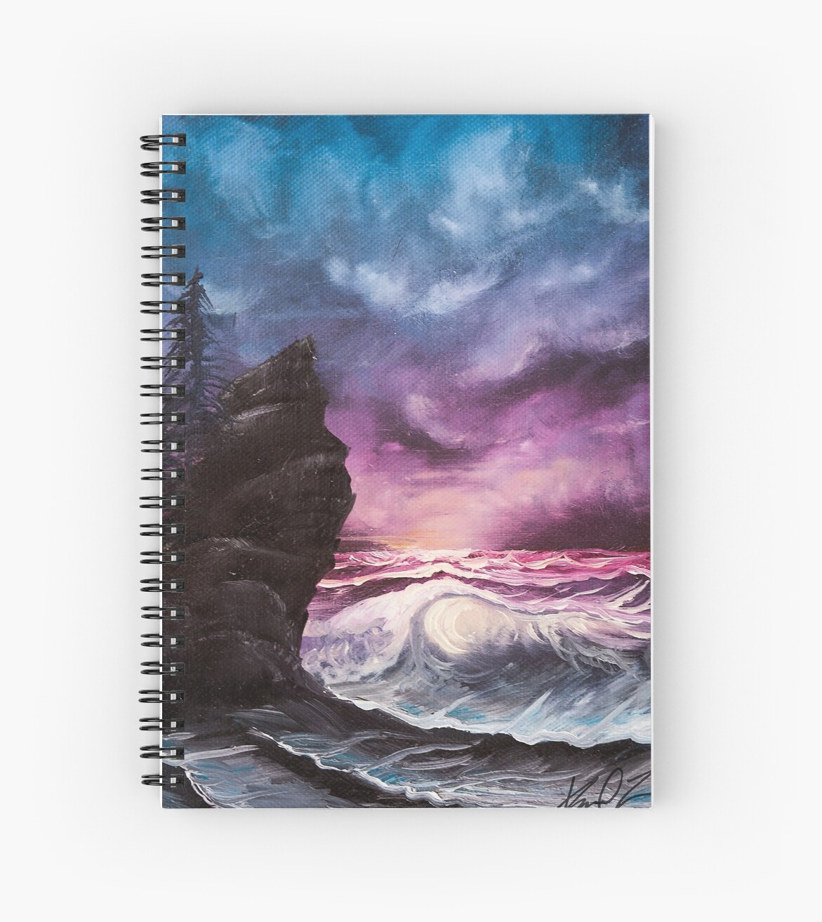 Ocean Sunset Bob Ross Style Seascape Painting Spiral Notebooks By