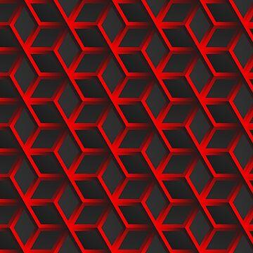 Dark black and red hexagonal Geometric grid background Modern dark abstract texture by Darcraft28