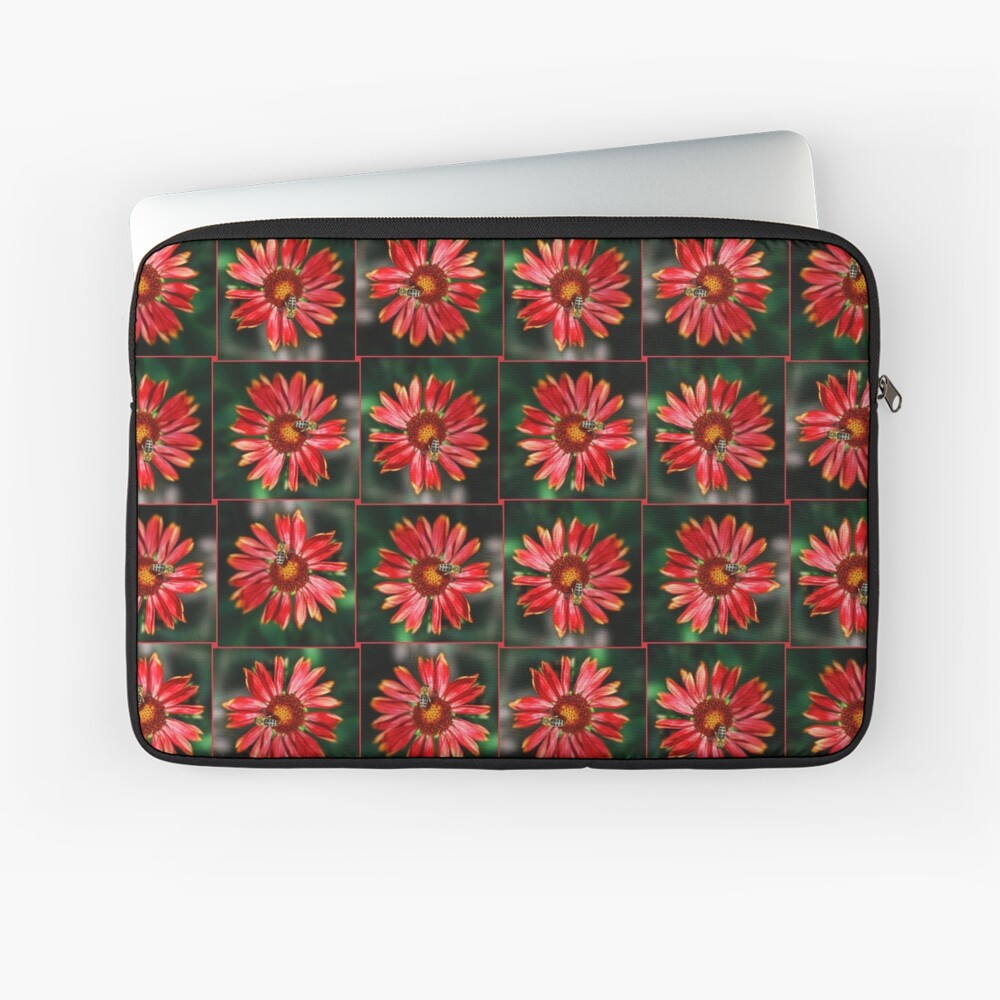 Bee on a red helenium Laptop Sleeve