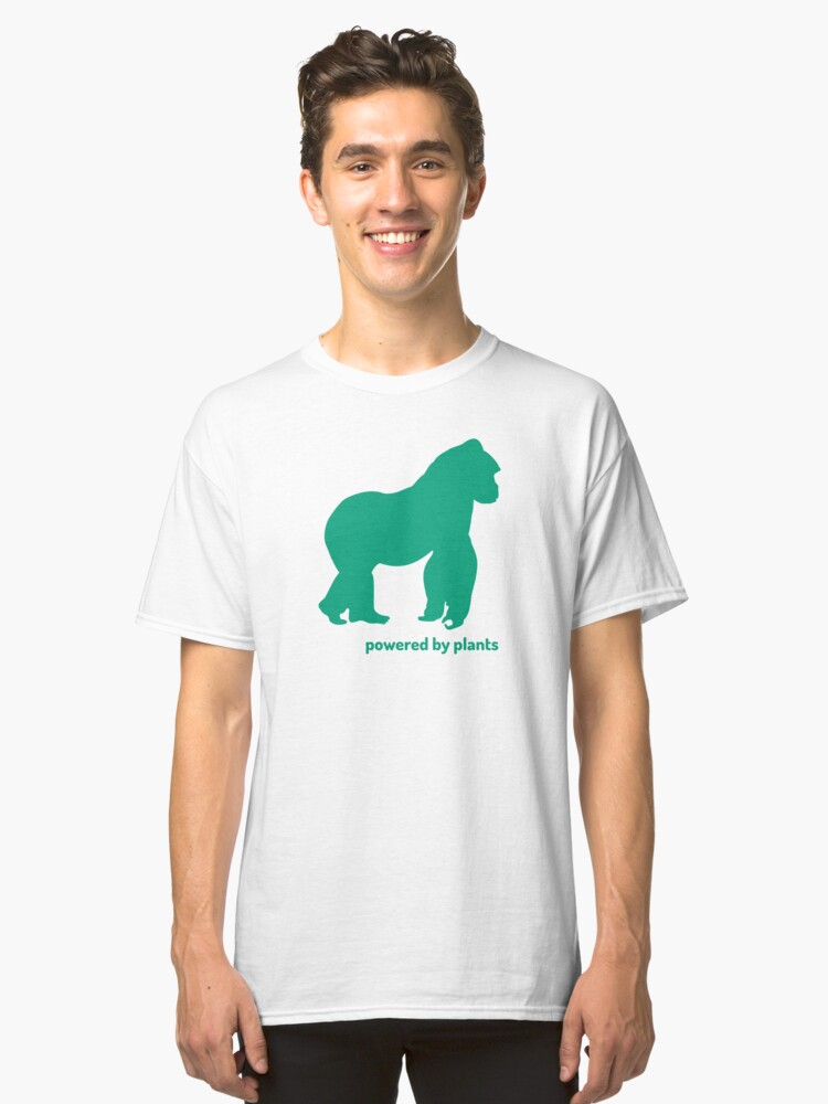Alternate view of gorilla powered by plants Classic T-Shirt