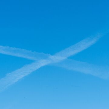 Scottish Flag made by aircraft condensation trails. by stuwdamdorp