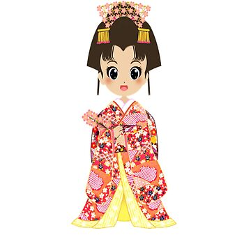 Geisha Japan Traditional Japanese Kimono Cute Kawaii by Discofunkster