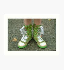 My Pretty Green Hightops! Art Print