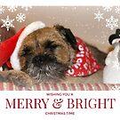 Border Terrier Christmas Card ~ Merry & Bright by ScruffyLT