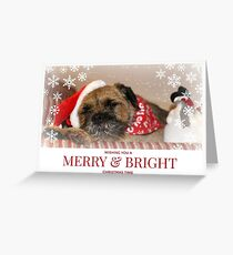 Border Terrier Christmas Card ~ Merry & Bright Greeting Card