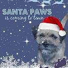 Border Terrier Christmas Card ~ Santa Paws Is Coming To Town by ScruffyLT