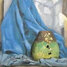 Early oil painting of cracked pot (me), fabric and mirror by James Lewis Hamilton