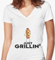 Just Grillin' Women's Fitted V-Neck T-Shirt