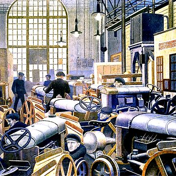Tractor Workshop at the Putilov Factory, fine art painting by virginia50