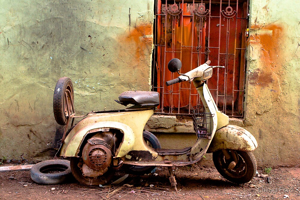 Green and Orange - Rusted Scooter by Chinua Ford