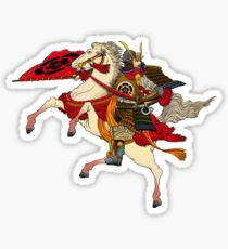 Samurai warrior on horse Sticker