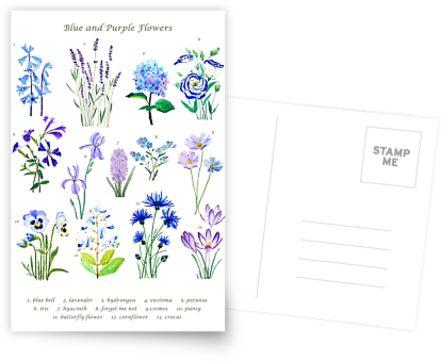 blaue und lila Blume Sammlung Aquarell von ColorandColor