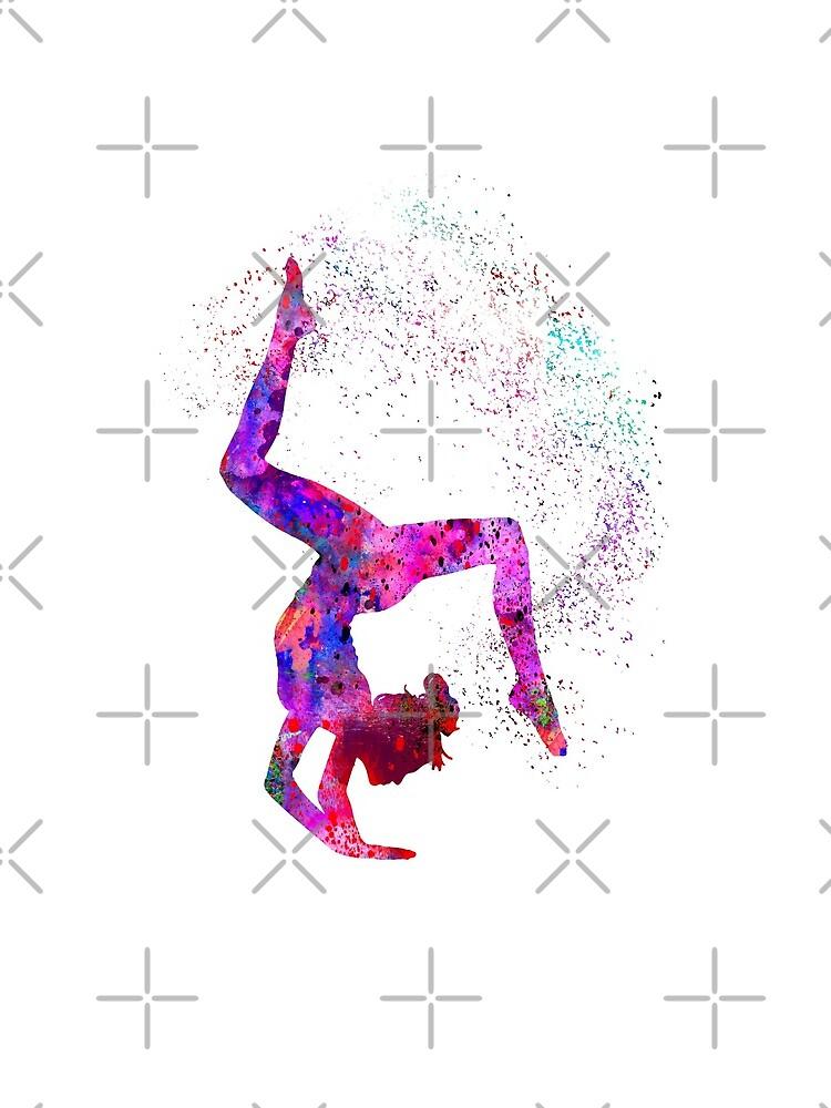 Gymnastics girl, watercolor gymnastics, teen gift by Rosaliartbook