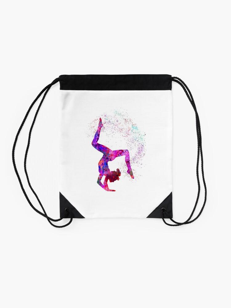 Alternate view of Gymnastics girl, watercolor gymnastics, teen gift Drawstring Bag