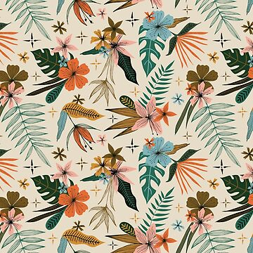 tropical vintage inspired floral pattern by swoldham