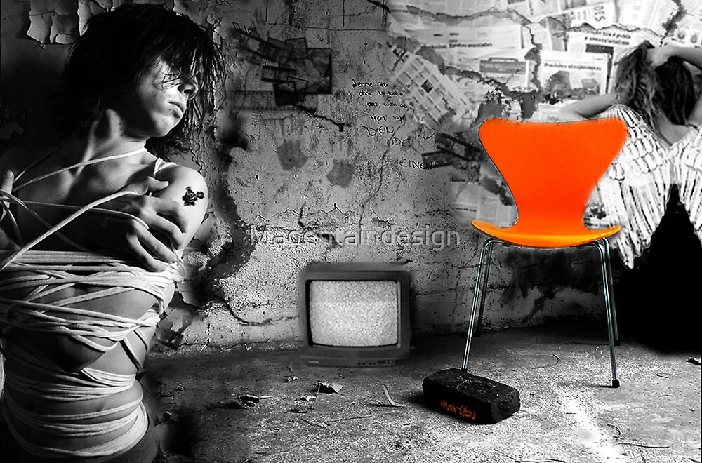 Bounded in an orange chair by Magentaindesign