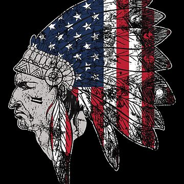Native American USA Flag Indian Apparel Gift by CustUmmMerch