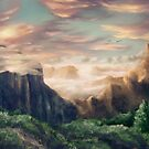 Idyllic fantasy mountain landscape by unikatdesign