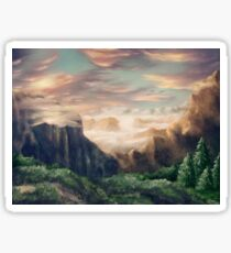 Idyllic fantasy mountain landscape Sticker