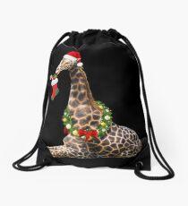 Christmas  Giraffe  Drawstring Bag