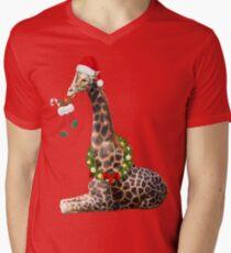 Christmas  Giraffe  Men's V-Neck T-Shirt