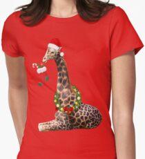 Christmas  Giraffe  Women's Fitted T-Shirt