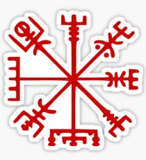 Blood Red Vegvísir (Viking Compass) Sticker
