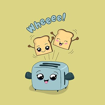 Cute Kawaii Toast and Toaster by ValentinaHramov