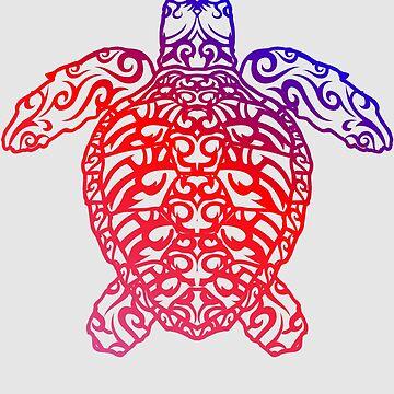 Cute Trendy Sea Turtle Ocean Blue Tribal Art Gift by NBRetail