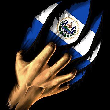 Salvadoran in Me El Salvador Flag DNA Heritage Roots Gift  by nikolayjs