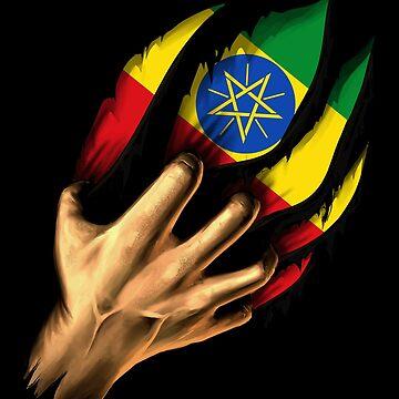 Ethiopian in Me Ethiopia Flag DNA Heritage Roots Gift  by nikolayjs