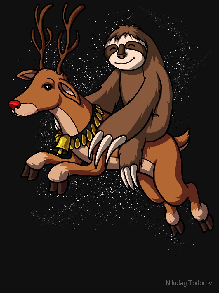 Sloth Santa Riding Reindeer Christmas Funny by underheaven
