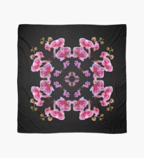 Stunning Lavender Red Violet Orchids Scarf, Pillow, Tote on Black Scarf