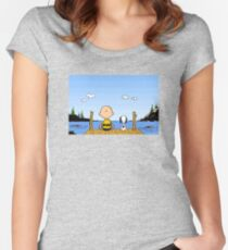 Charlie Brown Snoopy On Dock Women's Fitted Scoop T-Shirt