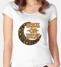 Trick or Treat Black and Orange Moon Design Women's Fitted Scoop T-Shirt