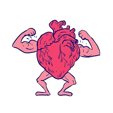 Healthy Heart Flexing Muscle Drawing by patrimonio