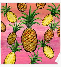 Tropical Sunset Pineapples in Acrylic Poster